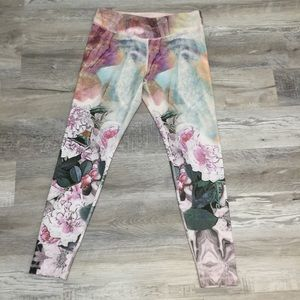 Anthropologie Pure + Good Pink Floral leggings